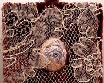 Victorian Style Mystic Lovers Eye Portrait Hand Embroidered Silk Thread Needlework Art Goth Steampunk Momento Mori
