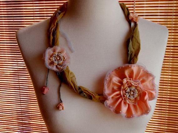 Hand Painted Silk ribbon Bead Floral Necklace Bohemian Art Vintage Jewel