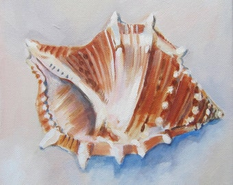 "Shells IV -8"" x 8"" painting on canvas"