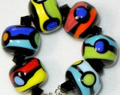 Handmade Lampwork Bead set 7 Bright Spotted Rounds by DIF Designs Beads BOLD & BEAUTIFUL