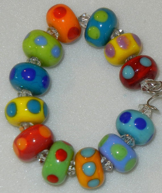 Handmade Lampwork Glass Little Colorful Bead Set by DIF Designs Beads 12 TEENY TINYDotted Rounds