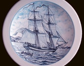 Traditional Blue Ceramics Plate - Two-masted American Tall Ship