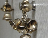 Vintage Gold Tone Dangling Bell Clip On Earrings