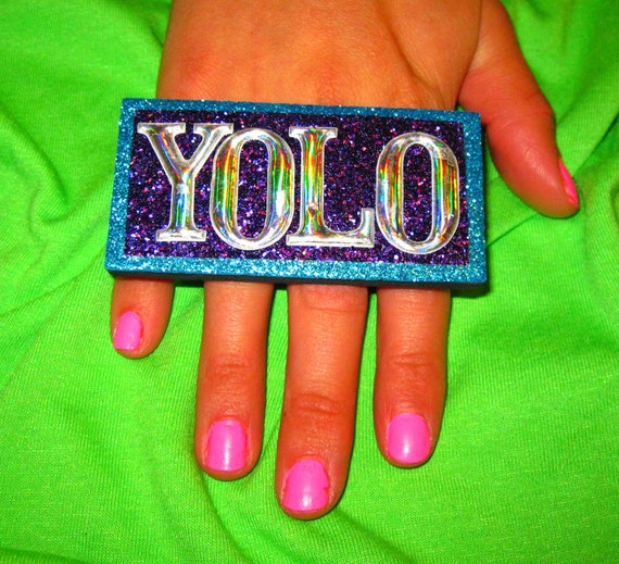 large YOLO expression RING in teal, purple, & silver sparkle
