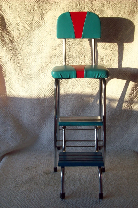 Vintage 1950s Kitchen Step Stool Booster Diner By Dshtreasures