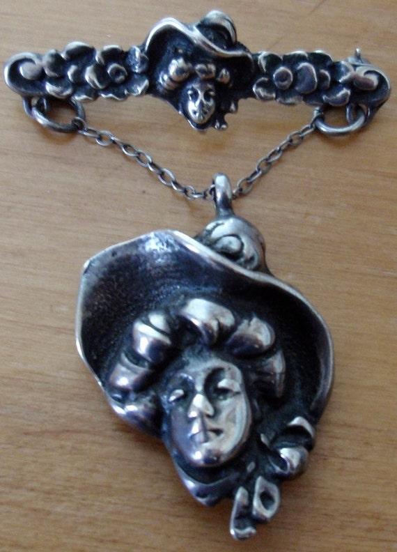 Art Nouveau Sterling Gibson Girl Brooch