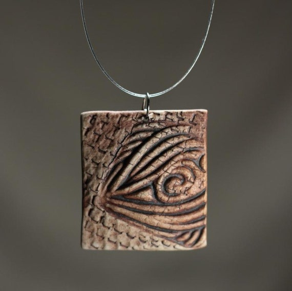 Reserved for Enrico - Handmade ceramic pendant, matte brown necklace
