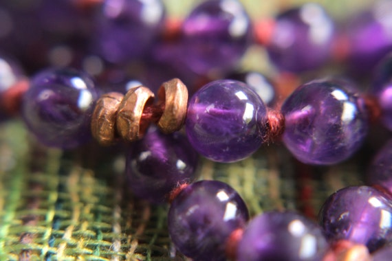 Amethyst and Copper 108 Bead Mantra Mala, 108, Yoga, Prayer Beads