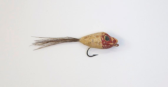 RESERVED for Dave Knapp, Old Cork Fishing Lure with Deer Hair, small and loaded with charm