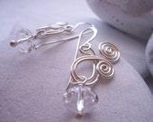 Swarovski Crystal Bridal Earrings/ Argentium Silver