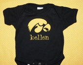 Personalized Iowa Hawkeyes Onesie (Bodysuit)- Embroidered, Customized, and Applique