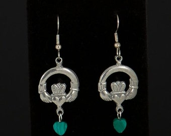 Pewter Celtic claddagh earrings with malachite heart drops by Sylvan Creations.