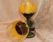 Hand Painted  Wine Glasses- Sunflower Painted Wine Glass
