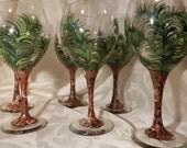 Hand Painted Wine Glasses- Custom Palm Tree Glasses