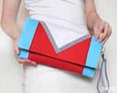 Sea red and blue felt clutch