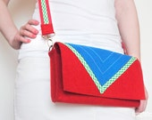 Red and blue felt clutch bag