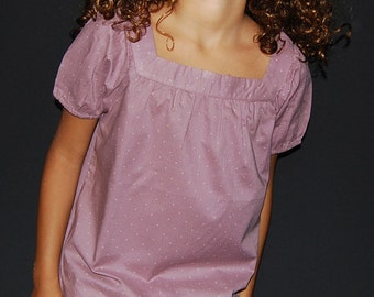 Girl's purple plumetis blouse Appoline