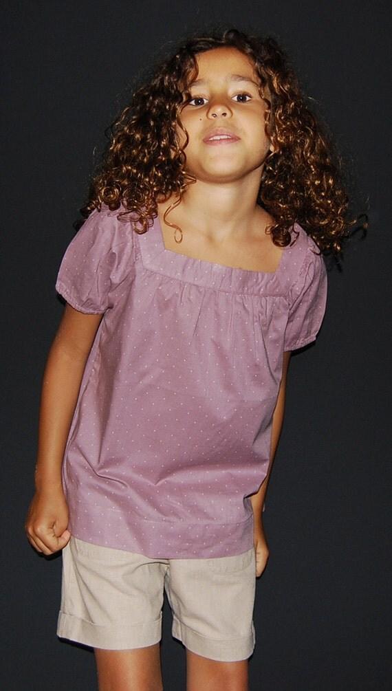 Girl's purple plumetis blouse Appoline
