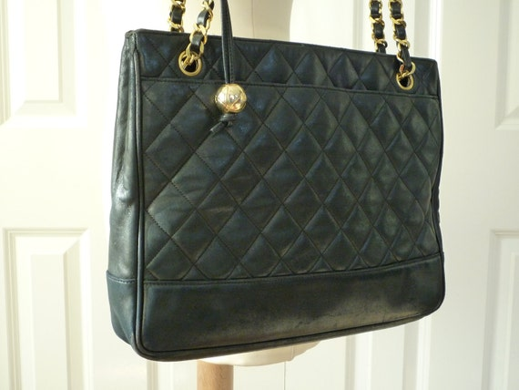 Stunning Vintage Black 1980s CHANEL Quilted  SHOPPER..A Perfect Christmas gift.RESERVED