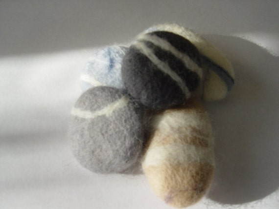 Felt Pebbles x 5, soft, beach, pebbles, seaside,