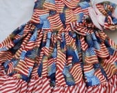 Zoe Firecracker Fourth of July Dress and Headband Set size 3