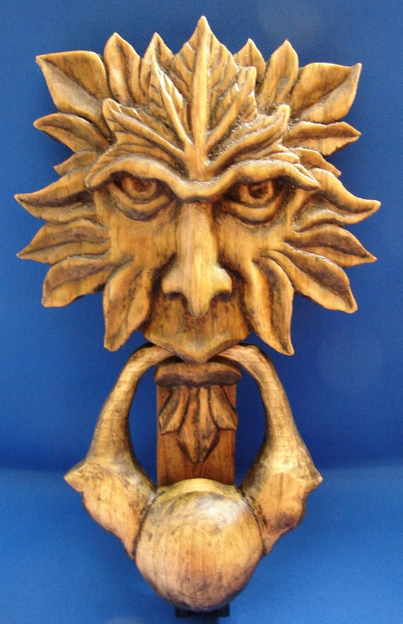 Items similar to doorknocker on etsy - Greenman door knocker ...