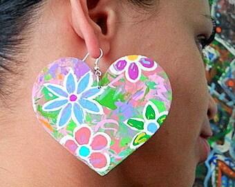 Heart shape/flower painted earrings