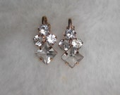 Vintage Clip-On Rhinestone/Crystal Clear square Small Danity Earrings-Stunning and Perfect for Wedding/ Cocktails/Graduation/Prom/Theater