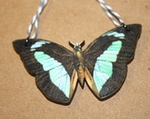 Nature Inspired Teal and Black Butterfly Wood and Twine Necklace