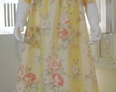 CLEARANCE. Pink Vintage Style Cabbage Roses on Yellow and Cream Stripe Dress. Size 4 - 5 4T 5T Ready to Ship.