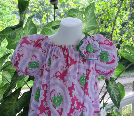 CLEARANCE. Paisley and Roses Peasant Style Summer Dress w/ Matching Flower Pin.  Size 5/6 Available for Immediate Shipping.
