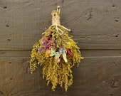 Sale Primitive Country Farmhouse Sweet Annie Swag Hanger with Rosebuds and Rustic Dried Flowers  048