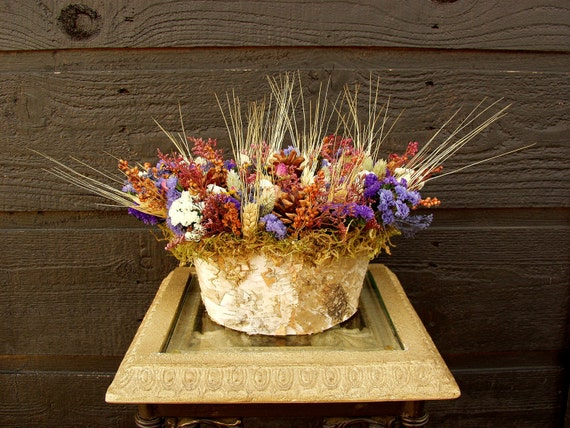 Gift, Large Rustic Woodland Country Birch Bark Colorful Dried Flower Arrangement with Pinecones and Wheat  043
