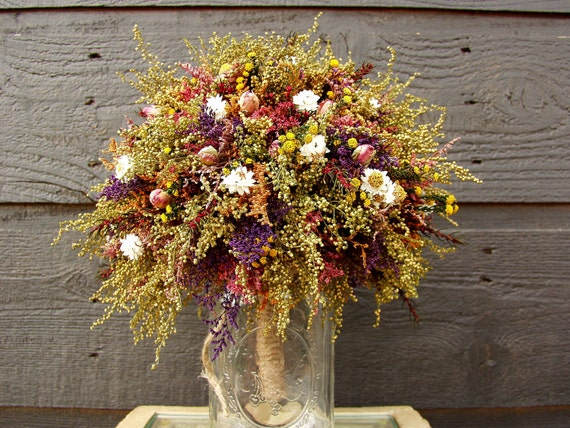 Country Wedding Brides Bouquet with Primitive Sweet Annie Rosebuds and Rustic Dried Flowers