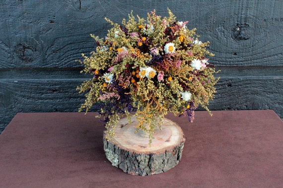 Country Wedding Bridesmaid Bouquet with Primitive Sweet Annie Rosebuds and Rustic Dried Flowers 099