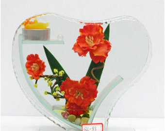 Heart shaped crystal glass candle holder