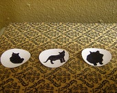 "Round Cat Sticker Prints // 3 Silhouette Cats // 2"" Round Stickers"