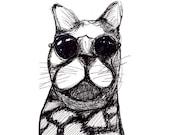 Cat Postcard Set of 4 // Black and White Biker Cat