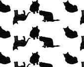Cat Postcard Stationery // Black Silhouette Cat Pattern