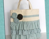 Rosie Posie Ruffle Tote in Turquoise and Brown