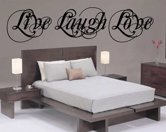 7 foot Live Laugh Love Wall Decal Vinyl Sticker Cursive Quote Art  Living Room Dining Room Decor mothers day gifts for mom or your mother