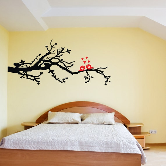 4 Foot Tree Branch with LOVE BIRDS kissing and hearts Vinyl Wall Sticker Decal