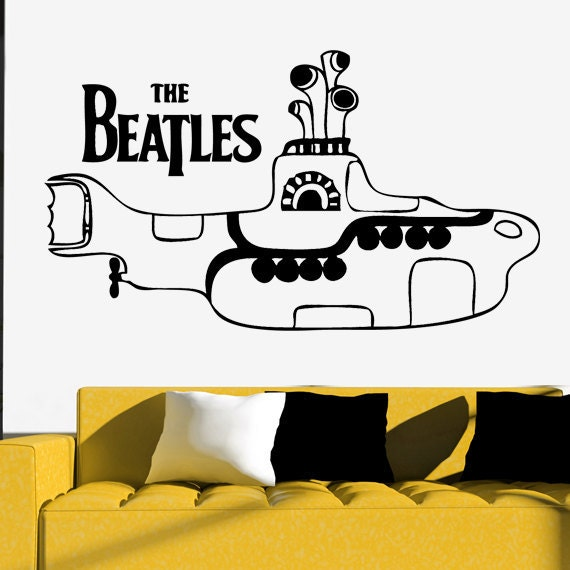 Yellow Submarine Wall Sticker THE BEATLES Vinyl Art Decor Silhouette    Yellow Submarine Stencil