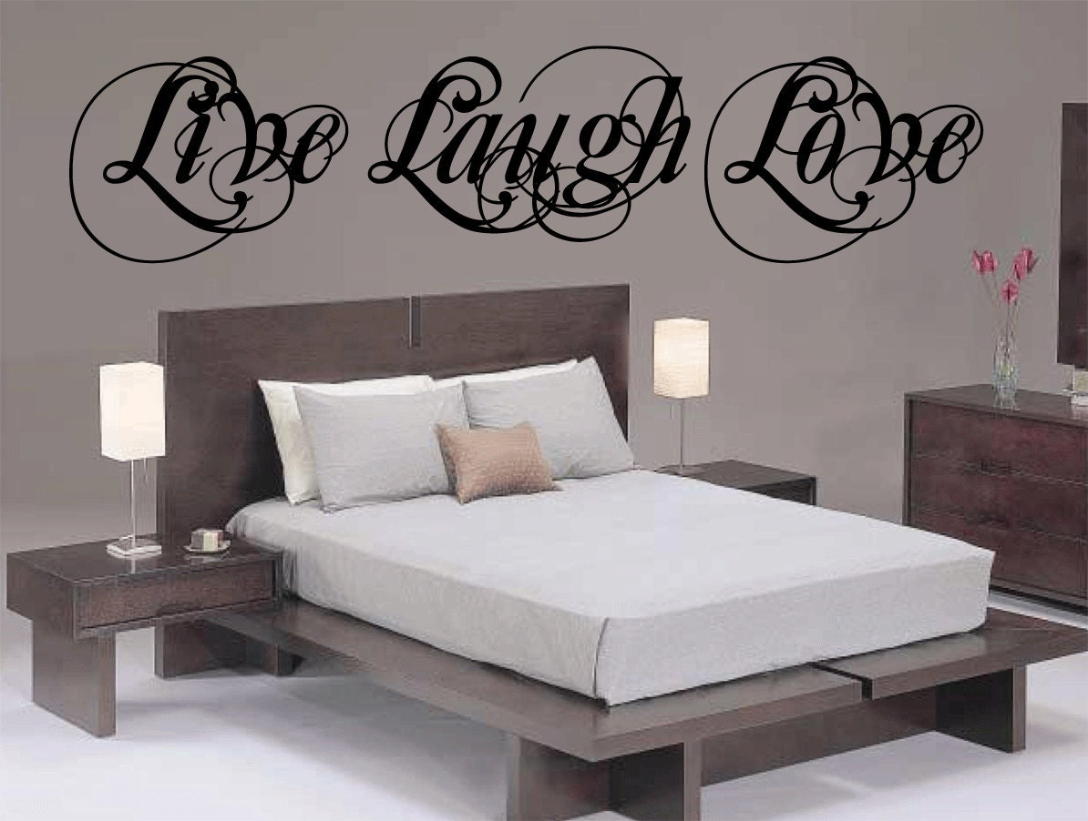 7 foot live laugh love wall decal vinyl sticker by happywallz. Black Bedroom Furniture Sets. Home Design Ideas