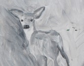 Acrylic painting, deer black and white