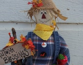 Standing Fabric Stuffed Primitive Scarecrow, Autumn Scarecrow, Handmade and Handpainted, Made of Recycled Blue Jeans - NorthShedTreasures