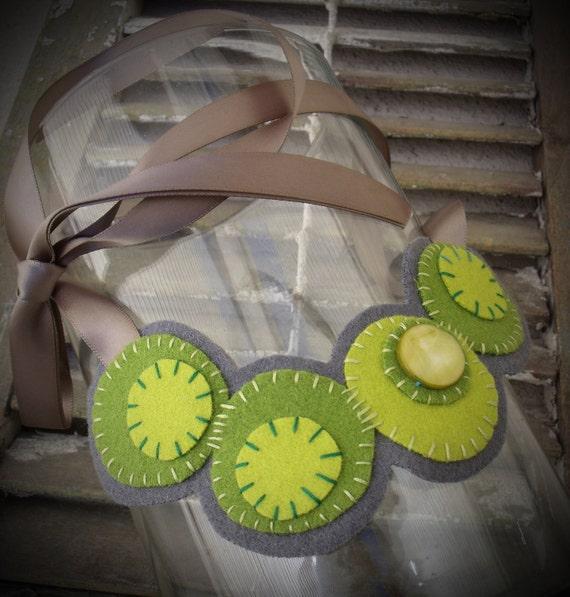 Felt Bib Necklace Lime Green Circles