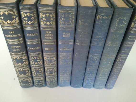 Vintage Books-Blue Cloth with Gold Spines