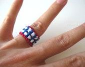 Patriotic Stars 'n Stripes Ring - 2 Stars High - Red White & Blue