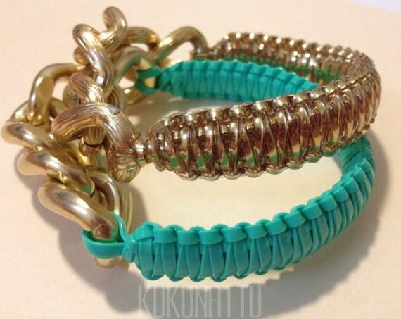 kokonatto: FREE SHIPPING- Mint&Gold chain King Cobra bracelet.